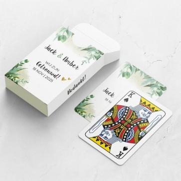 Gepersonaliseerde speelkaarten huwelijksbedankje - A Touch of Gold - doosje en kaarten
