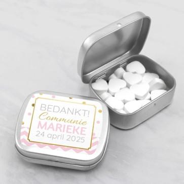 Sweet Tin communiebedankje gold confetti