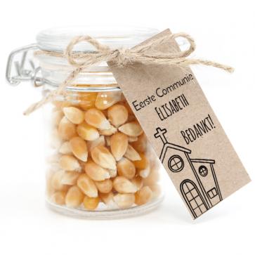 Weckpotje met Popcorn Communie bedankje Kerk
