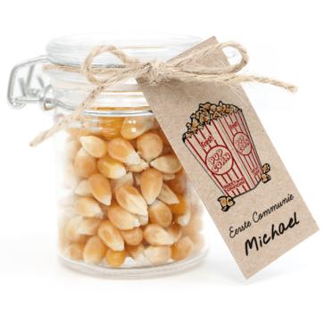 Weckpotje met Popcorn Communie bedankje Movie Nights