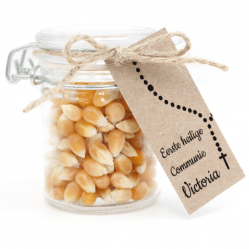 Weckpotje met Popcorn Communie bedankje Rosary
