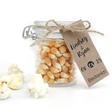 Weckpotje Popcorn huwelijksbedankje Botanical