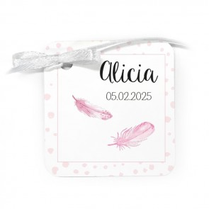 Bedankkaartje geboortebedankjes Feather roze