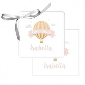 Bedankkaartjes communiebedankje pink balloon