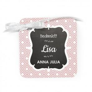Bedankkaartje geboortebedankjes Baby Square Roze