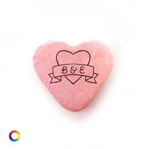 Bedrukte Vruchtenhartjes huwelijksbedankjes Heart Banner