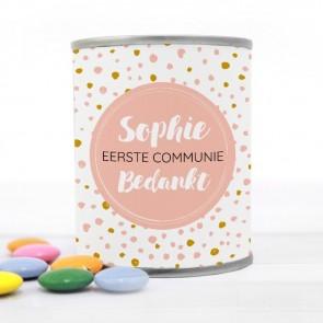 Blikje met Chocolade Pastilles Commmunie bedankje Dots