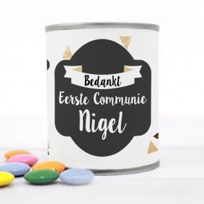 Blikje met Chocolade Pastilles Commmunie bedankje Gold Triangle