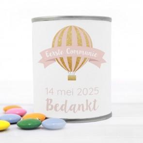Blikje met Chocolade Pastilles Commmunie bedankje Pink Balloon