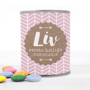 Blikje met Chocolade Pastilles Commmunie bedankje Pink Craft