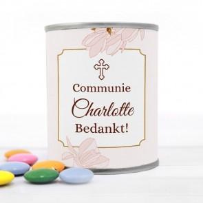 Blikje met Chocolade Pastilles Commmunie bedankje Vintage Flower