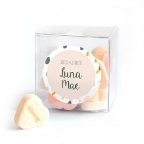 Candy Cube Geboortebedankje Blushed Roze