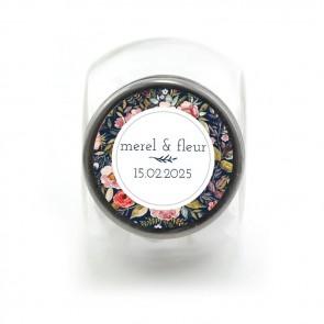 Candy Jar geboortebedankje Duo Flowers