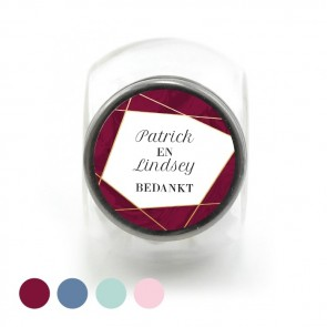Candy Jar Huwelijksbedankje Lines Burgundy