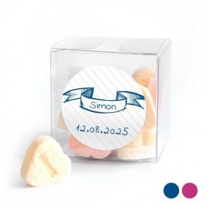 Candy Cube geboortebedankje Doodle Blauw
