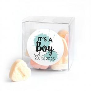 Candy Cube geboortebedankje Splatter Blauw