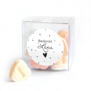 Candy Cube Geboortebedankje Stipples