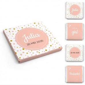 Chocolaatjes in Hoesje Geboortebedankje Pink Perfect