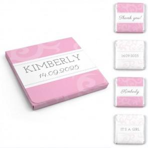 Chocolaatjes in Hoesje Geboortebedankjes Classic Baby Roze