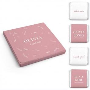 Chocolaatjes in Hoesje Geboortebedankjes Dreaming Roze