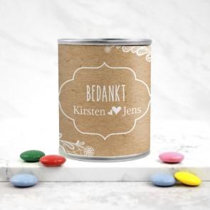 Blikje Chocolade Pastilles Bruiloft Bedankje Bohemian Flowers voorkant