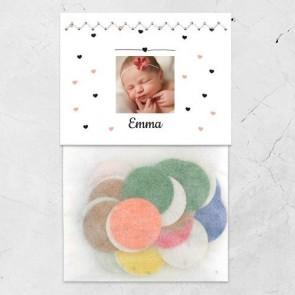 Flowerbag geboortebedankje heart dots meisje