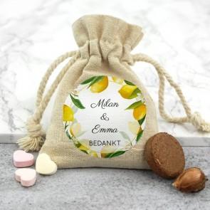 Bedrukt Linnen Zakje - Lemon