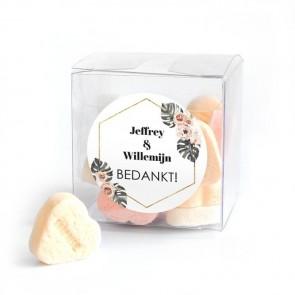 Candy Cube huwelijksbedankje Botanical Geo