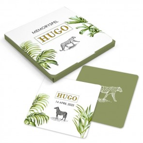 Memory Spel geboortebedankje Safari Animals