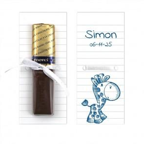 Merci Chocolaatje geboortebedankje Doodle Blauw