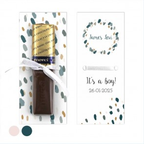 Merci Chocolaatje geboortebedankje Blushed blauw