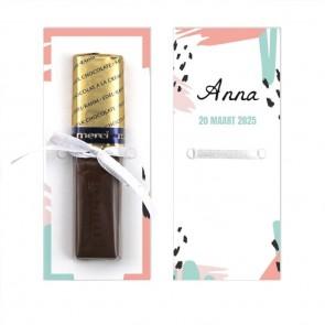 Merci Chocolaatje Geboortebedankje Memvis Roze