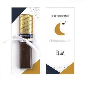 Merci Chocolaatje Geboortebedankje Over the Moon