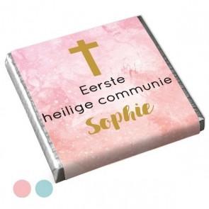 Mini Chocolaatje Communie bedankje Watercolour Cross Roze