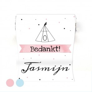 Mini Mint to Be Geboortebedankje Baby Square Roze