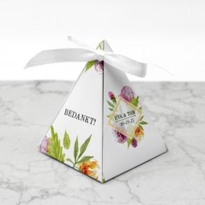 Piramide doosje huwelijksbedankje - Floral