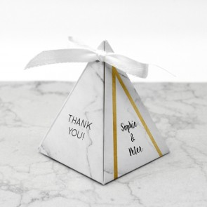 Piramide doosje huwelijksbedankje - Marble & Gold
