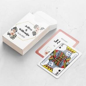Gepersonaliseerde speelkaarten huwelijksbedankje - Botanical Geo - bovenaanzicht