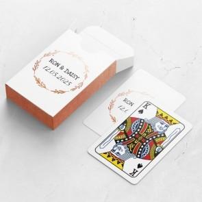 Gepersonaliseerde speelkaarten huwelijksbedankje - Flower Crown - doosje met kaarten