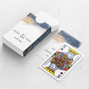 Gepersonaliseerde speelkaarten huwelijksbedankje - Gold Watercolour - bovenaanzicht