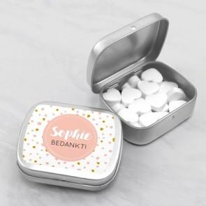 Sweet Tin communiebedankje dots