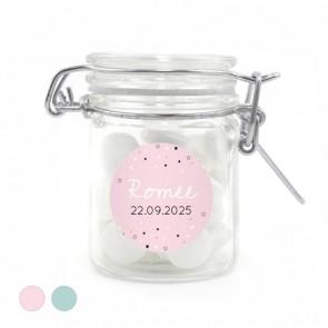 Weckpotje geboortebedankjes stars roze
