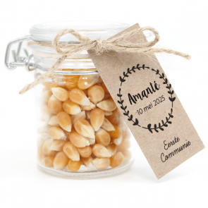 Weckpotje met Popcorn Communie bedankje Krans