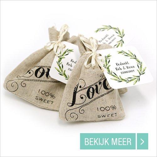 Linnen Love Bag huwelijksbedankjes