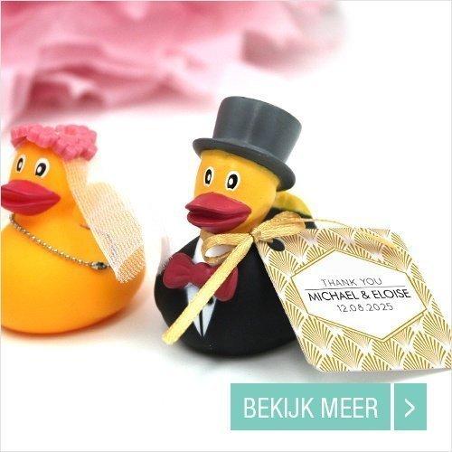 Huwelijksbedankje Badeendjes Bruidspaar