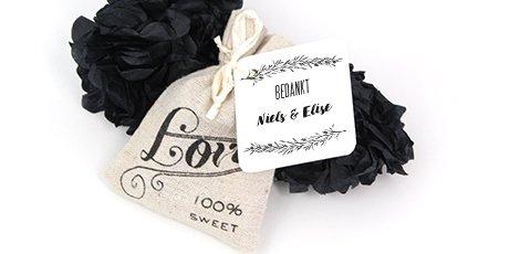 Huwelijksbedankje Linnen Love bags