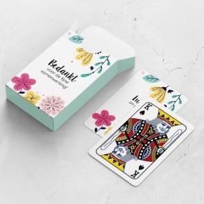 gepersonaliseerde speelkaarten zakelijk bloem kaarten en doosje