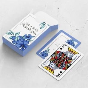 gepersonaliseerde speelkaarten zakelijk blue flowers kaarten en doosje