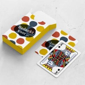gepersonaliseerde speelkaarten zakelijk dots kaarten en doosje