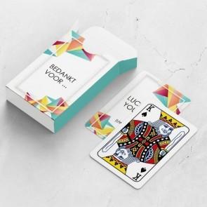 gepersonaliseerde speelkaarten zakelijk geometric kaarten en doosje